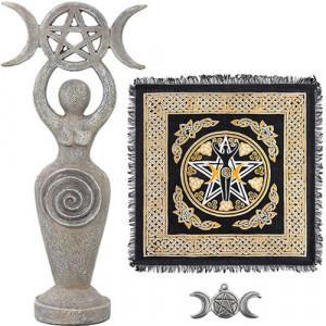 statuetta dea panno altare wicca